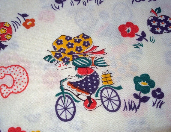 Vintage Novelty Child Print - Gingham Bonnets Bicycles Scotty Dogs - Cotton Yardage