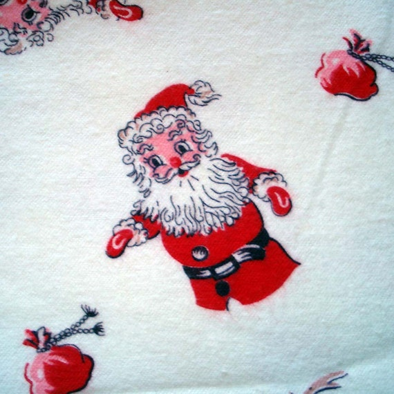 Adorable Vintage SANTA and  Reindeer Flannel Fabric - Hand Puppets - Christmas