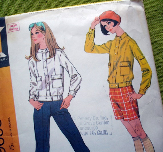 1960s Vintage Sewing Pattern - Mod Suit - Jacket Pants Shorts - Military Style - McCalls 9608