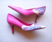 Lipstick Curves Hand Painted Leather Heels Sz 9.5