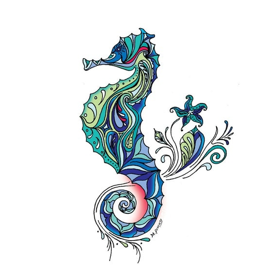 Seahorse Drawing Colorful