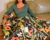 Floral Full Circle Skirt, Knee Length, Vintage Print, Limited Edition, Custom Made, Orange, Green, Yellow on  Navy Blue