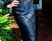 Reserved for Alsd2: Pencil Skirt in Navy Blue Floral, High Waist, Fully Lined, Custom Order, Gold Top-Stitching, Made in Australia