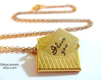 """Vintage inspired Purse Necklace OR Ring with Letter """"I Love You Forever"""""""