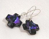 Sterling silver purple - blue Swarovski crystal cross dangle earrings
