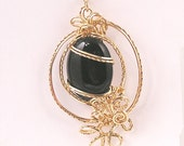 14K gold filled wire wrapped  black agate pendant,  pin, brooch or broach