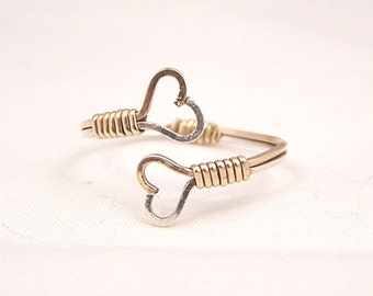 gold fill, sterling silver or two toned two hearts wire wrap ring