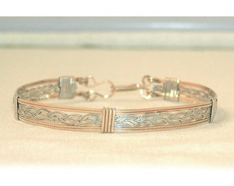 silver and gold two tone braided bracelet