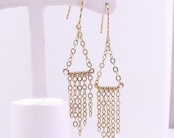 14K Gold fill chain dangle chandelier earrings