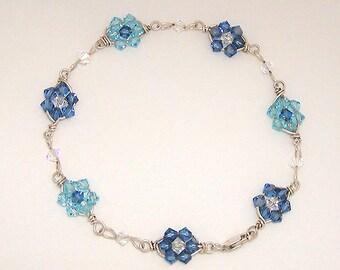 Blue Flowers - wire wrapped Swarovski crystal bracelet