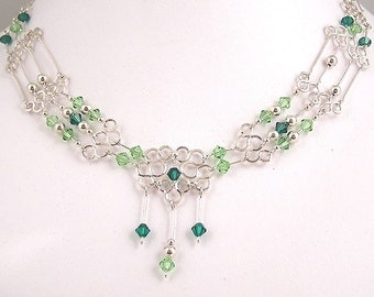 Swarovski crystals & sterling silver wire wrapped necklace