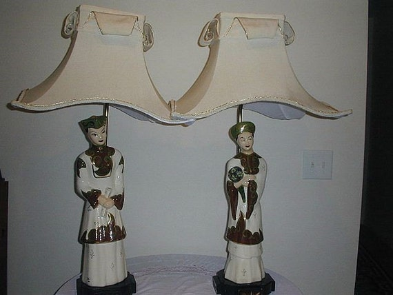 Vintage Chinese Figurine Lamps Pagoda Silk Shades 36 In Tall