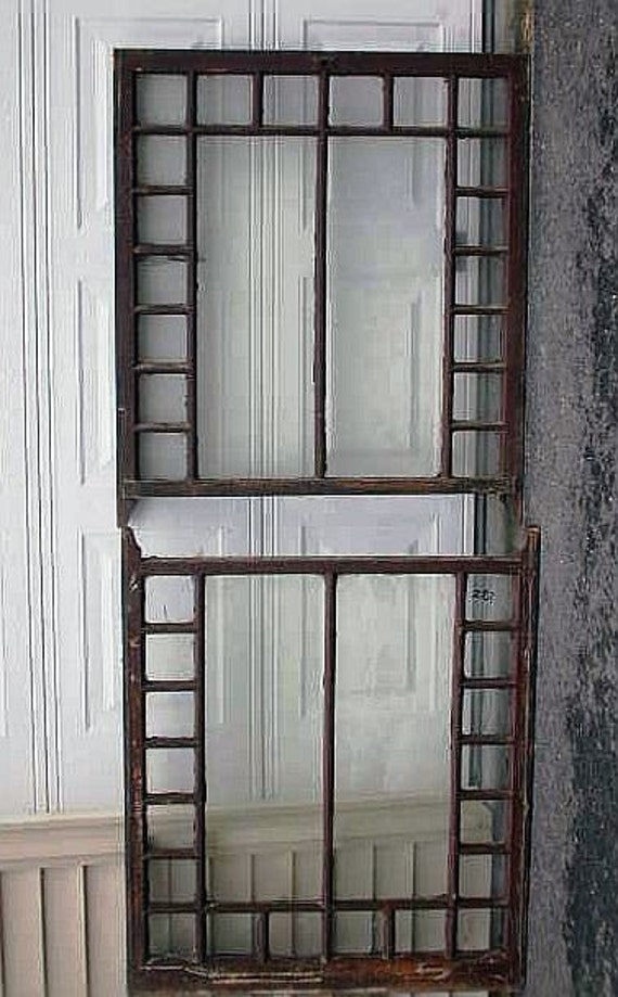 Salvaged architectual  window sashes with wavy glass 1880