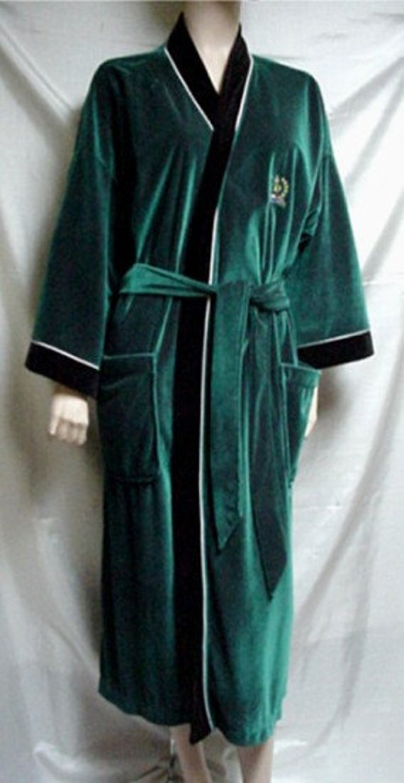 Elegant Vtg Christian Dior Mens Robe Jade Green And Black