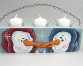 Adorable Kissing Snowmen Hand Painted Wood Triple Votive Candle Holder