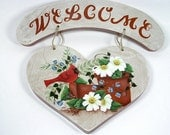 Beautiful Cardinal and Terra Cotta Pots Hand Painted Heart Welcome Sign
