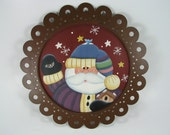 Cute Santa Claus Hand Painted Rusted Tin Decorative Plate