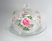 RESERVED for LGFORSURE - Beautiful Shabby Chic Pink Rose Handpainted Glass Cheese Server
