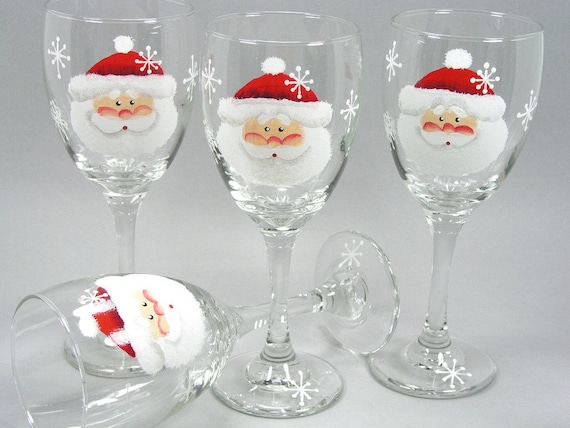 Set of 4 santa claus face hand painted wine by for Hand painted wine glasses