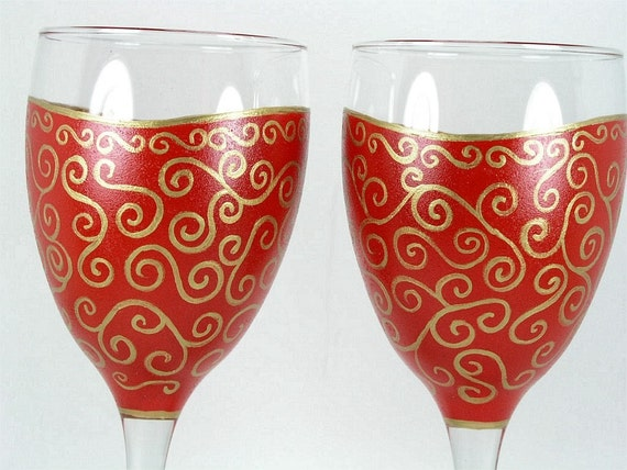 2 Lovely Red with Gold Swirl Hand Painted Wine Glasses