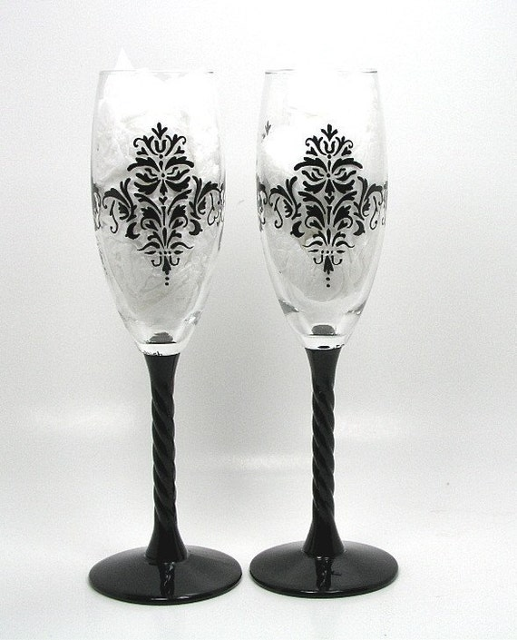 Black Damask Wedding Champagne Toasting Glasses Hand Painted by Astrokeofjeanneius