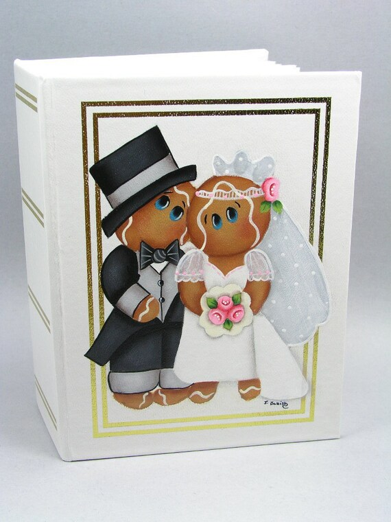 Gingerbread Bride and Groom Hand Painted Photo Album