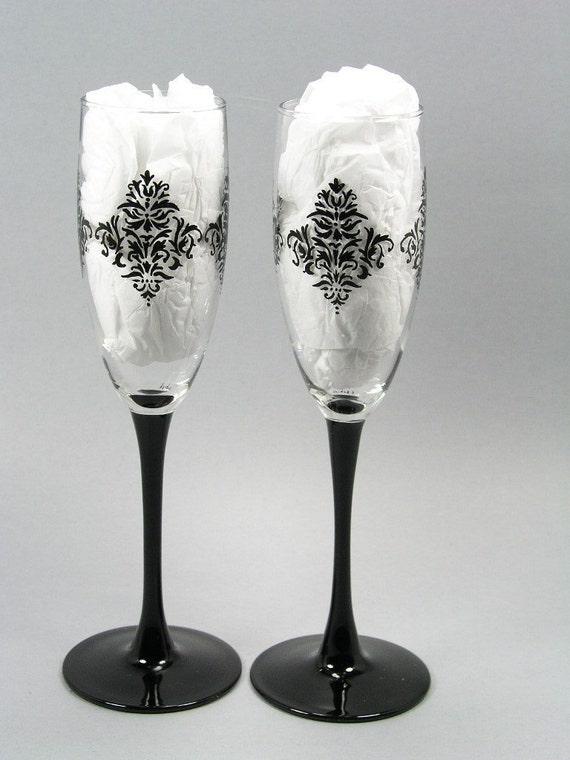 Unique damask pattern lacy black handpainted toasting glasses - Unusual champagne flutes ...