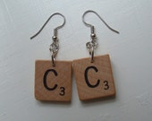 Scrabble Earrings All letters available Choose any Initials Vintage Wood Tiles wooden
