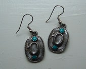 Cowboy Hat Charm Earrings cowgirl silver pewter turquoise surgical steel earwires USA-made lead-free