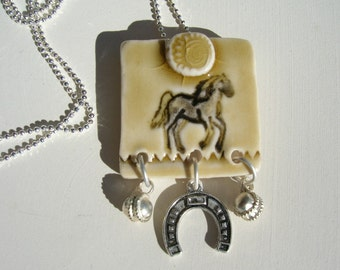 Horse Tile Porcelain Necklace