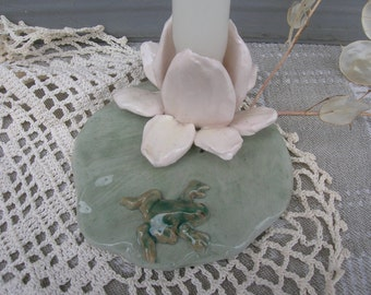 Frog On A Lily Pad Candle Holder