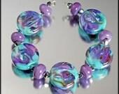 Hydrangea - 11 lampwork beads by Judith Billig