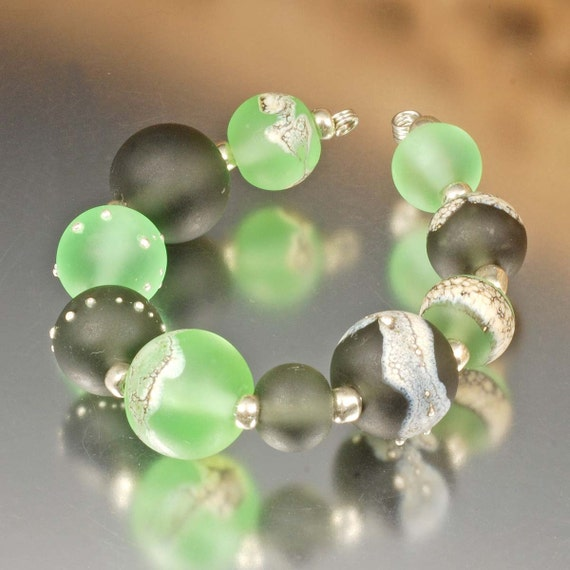 Handmade Etched Lampwork Beads - green, gray, grey, silvered ivory, silver - Serenity