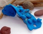 Felt cuff bracelet - One thousand and one DAY- blue women cuff
