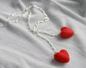 The two small hearts - felted necklace or bracelet , Valentine's day gift under 25, red and silver metal -ready to ship