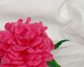 Felted pink peony pin/ Hand felted flower brooch/ Bright pink pin