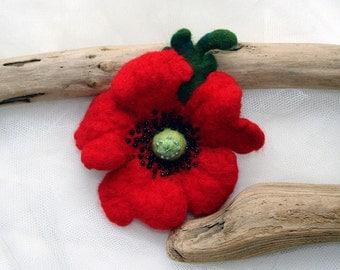 Felt flower/ Red poppy sing - Hand Felted Wool Flower Brooch/  Felt red poppy pin