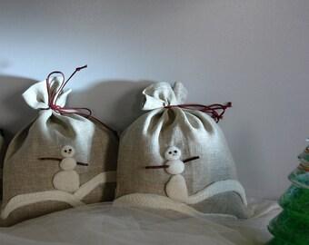 Linen Gift Bags- Snowman, Natural Linen Gift Bag, Felted Decoration Snowman, Eco Friendly, Handmade  Gift Bag
