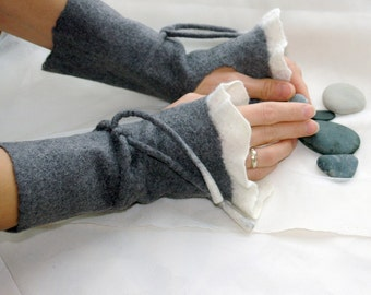Felt wrist warmers- Romantic lightness, Hand felted wrist warmers, wristlets, fingerless gloves, cuffs, gray and white, made to order