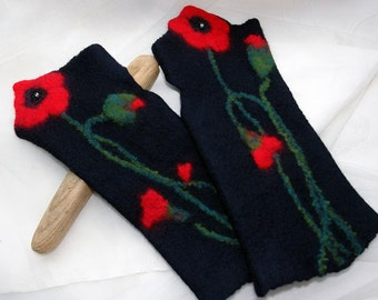 Hand felted wrist warmers, wristlets, felt fingerless gloves- Red poppy sing- felted cuffs, black red poppies, made to order