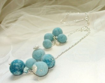 Felt necklace- Ocean drops, white and  blue chain necklace, Wool neck accessory, ready to ship