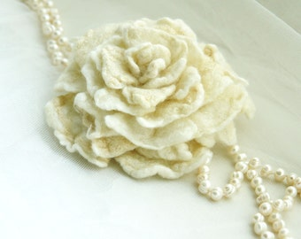 Hand Felt White Rose Brooch-  Rose - like first kiss- Felted flower pin, Vintage look