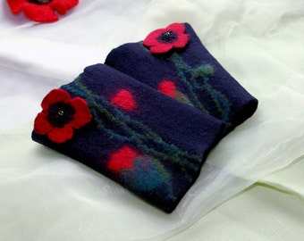 Felt Wrist Warmers- Red poppy sing, Hand Felted Wristlets, Fingerless Gloves, Cuffs, Black with Red Poppies, made to order