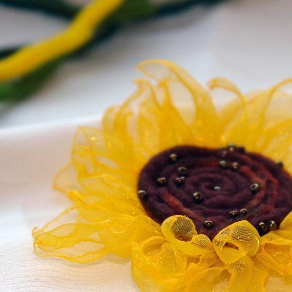 Fabric and Felt Flower Brooch/ Sunflower dream /Yellow Organza and Felt Flower