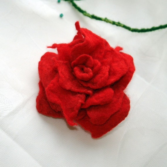 Red rose for your love - felted brooch , hand felt wool rose, red rose