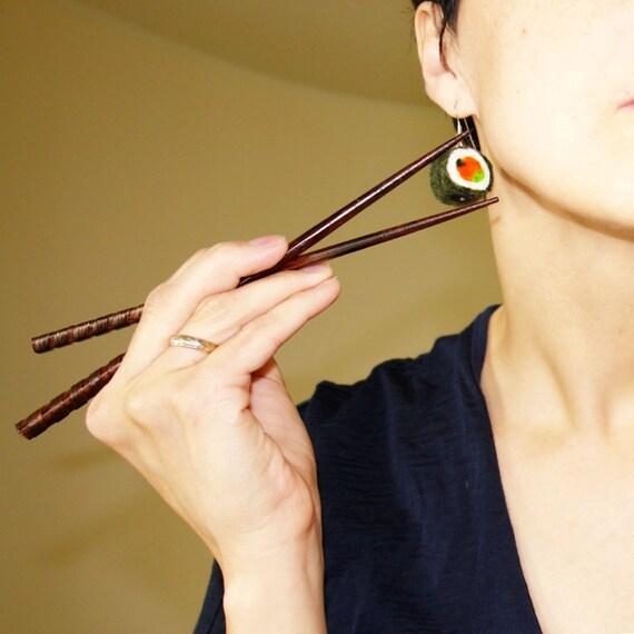 Sushi felt earings / Sushi bar is open -felted earrings/ white orange green felt earings