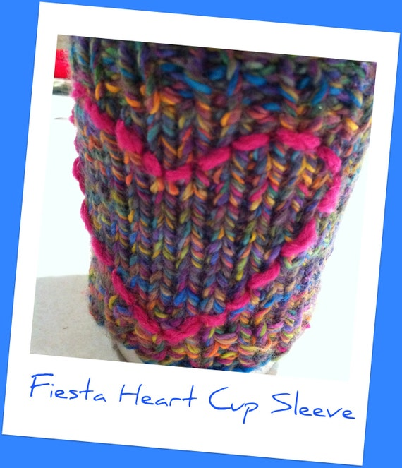 Fiesta Multicolored  Hand Knit Coffee or Tea Cup Sleeve Cozy