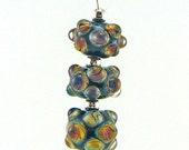 Raku Zebra Bubbles Lampworked Glass Bead Pendant Necklace