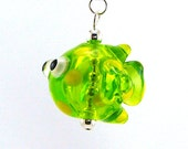 Lime Green Spotted Fish Hollow Lampworked Glass Bead Necklace