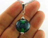 Green Psychic Storm Lampworked Glass Bead Necklace